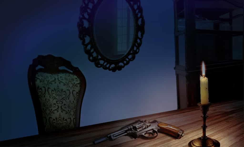 револьвер на столе