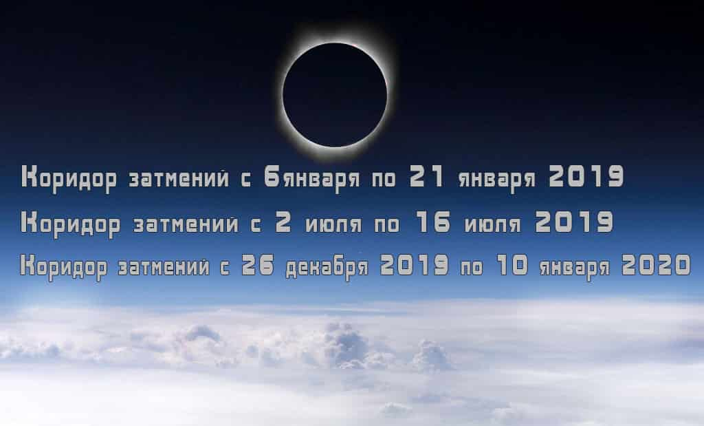 Календарь лунных и солнечных затмений на 2019 год.