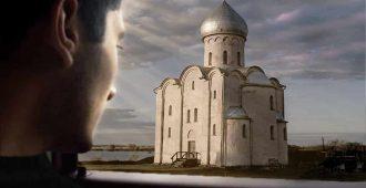Мужчина видит церковь из окна автомобиля